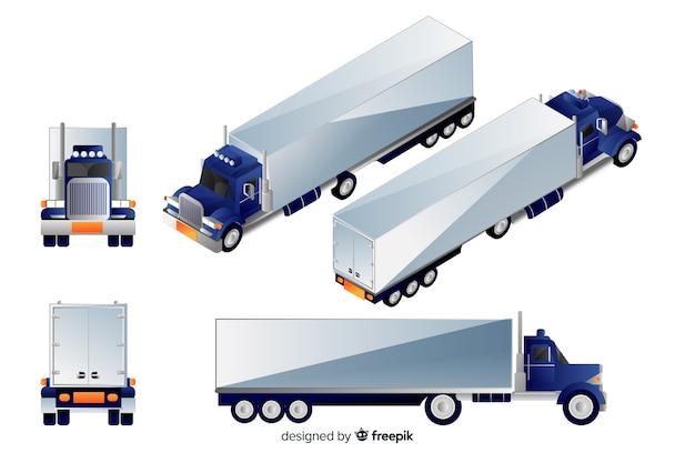 Isometrische blauwe vrachtwagen in verschillende weergaven