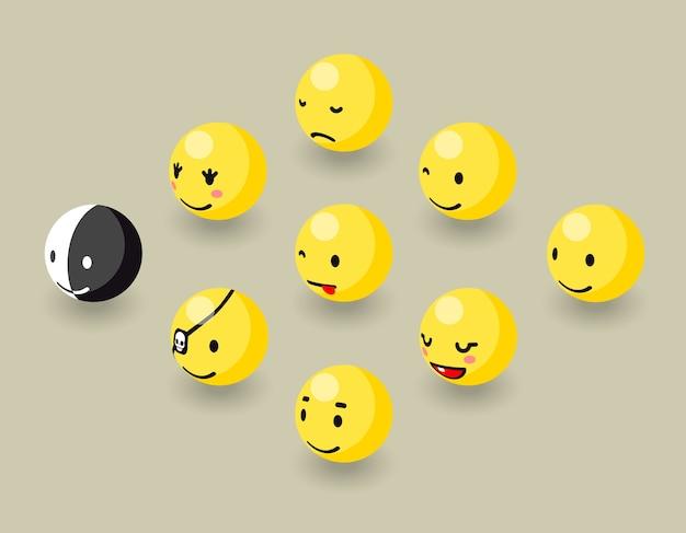 Isometrische blij gezicht bubbels spelelementen.