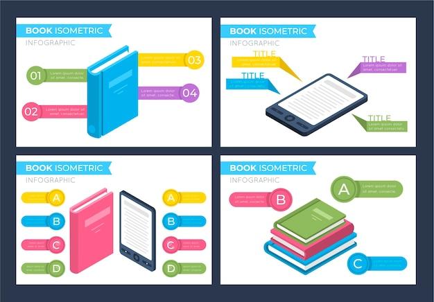 Isometrische boek infographics sjabloon