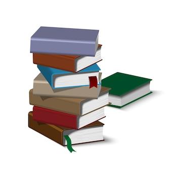 Isometrische boek stapel