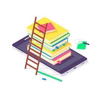 Isometrische boek universiteit en school onderwijs concept