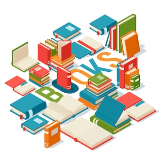 Isometrische boeken, banner voor bibliotheek of boekhandel