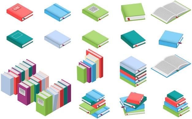 Isometrische boeken ingesteld