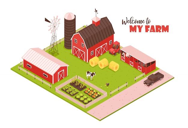 Isometrische boerderij illustratie