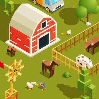 Isometrische boerderij landschap. dorp met verschillende boerderijdieren