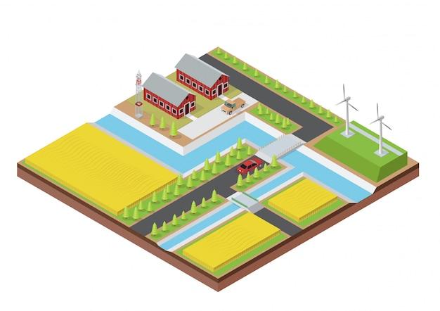 Isometrische boerderij met gebouw