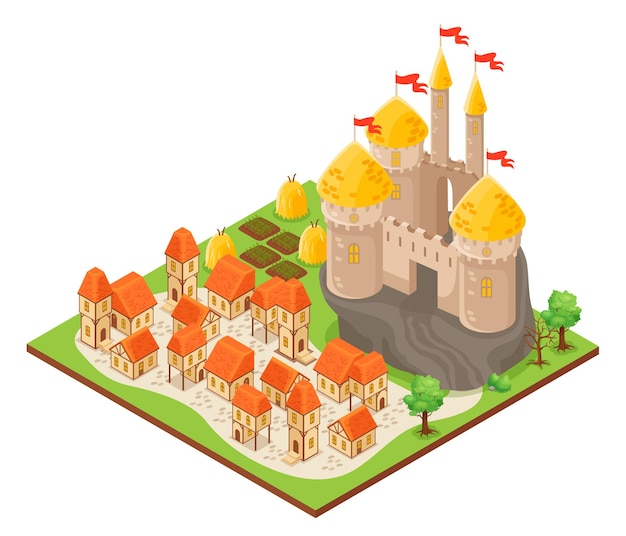 Isometrische bouw van fantasiekasteel op rots en stad met huizen