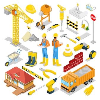 Isometrische bouwer met bouwinstrumenten en kraan. vector 3d platte illustratie