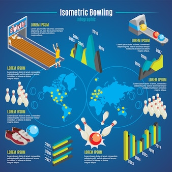 Isometrische bowling infographic sjabloon