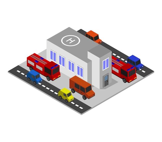 Isometrische brandweerkazerne