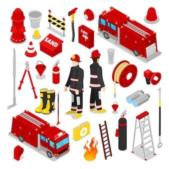 Isometrische brandweerman accessoires