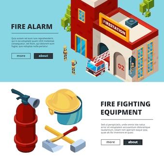 Isometrische brandweerman banner sjabloon set
