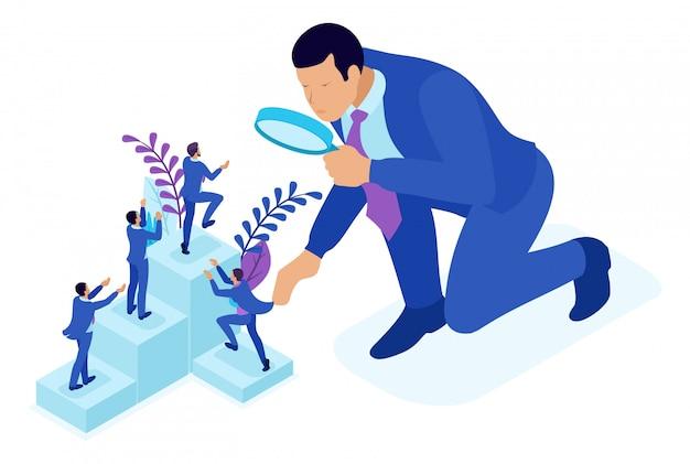 Isometrische bright concept concurrerende strijd voor carrièregroei, zakenman kijkt kandidaten door een vergrootglas. concept voor web