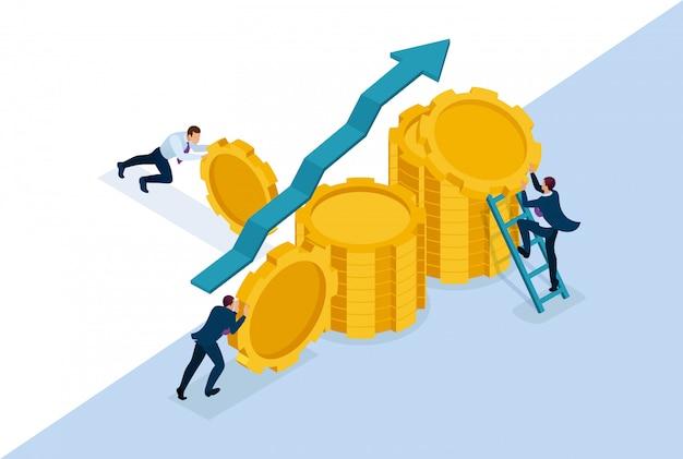 Isometrische bright concept site bedrijfsinvesteringen in bedrijfsontwikkeling, ondernemers bouwen besparingen. concept voor webdesign