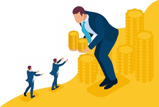 Isometrische bright site concept grote zakenman leent geld aan kleine ondernemers. concept voor webdesign