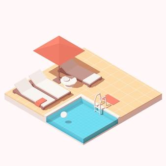 Isometrische buitenbadlounge van het hotelresort met zwembad, parasol en ligstoelen