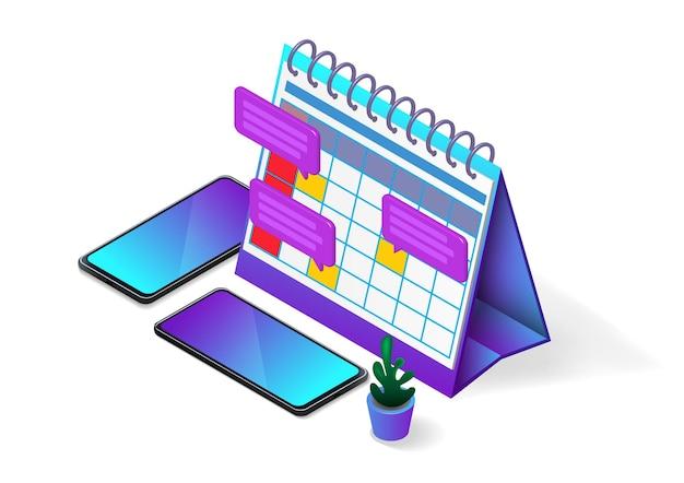 Isometrische bureaukalender met deadline-melding en smartphone