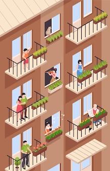 Isometrische burensamenstelling met uitzicht op hoogbouw appartementencomplex met balkons en karakters van buren
