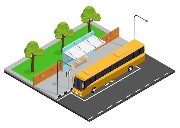 Isometrische bushalte illustratie