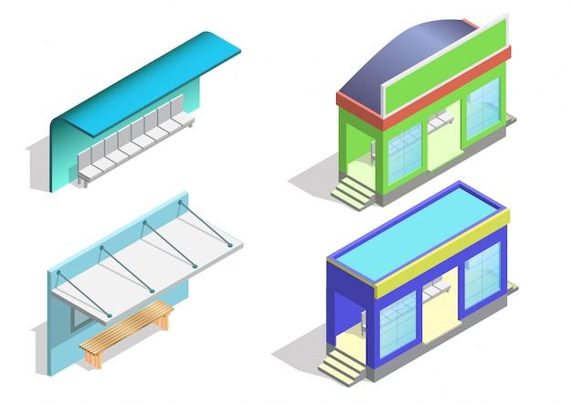 Isometrische bushalte pictogramserie.