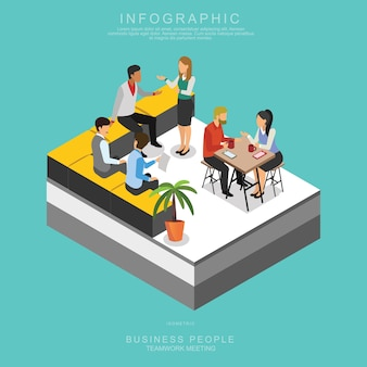 Isometrische business people teamwork meeting in functie