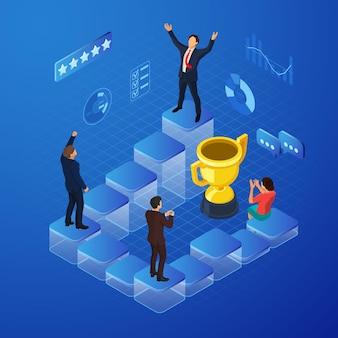 Isometrische business team viert win concept met isometrische mensen en gouden prijs. vector illustratie