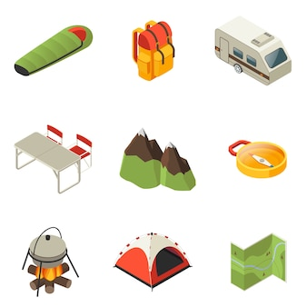Isometrische camping pictogrammen collectie