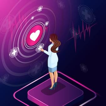 Isometrische cardioloog diagnosticeert een ziekte, schrijft een medicijn voor behandeling voor, bewaakt de ontwikkeling van de behandeling, beoordeelt, werkt met hightech-technologieën
