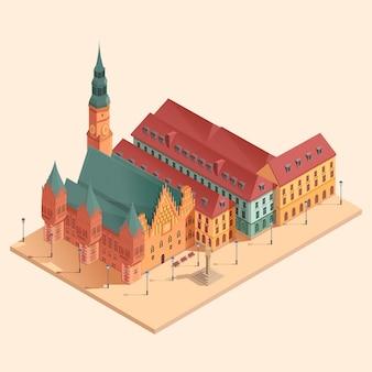 Isometrische cartoon centrale plein van wroclaw stad, vectorillustratie