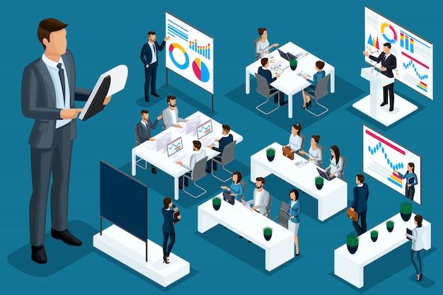 Isometrische cartoon mensen, zakenmensen en zakelijke dames verschillende situaties, grote man en mini coaching concept voor illustraties