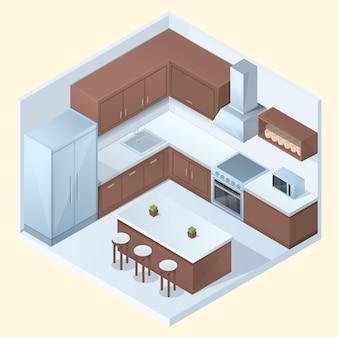 Isometrische cartoonkeuken met meubilair en toestellen, vectorillustratie