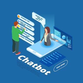 Isometrische chatbot-app met mensen