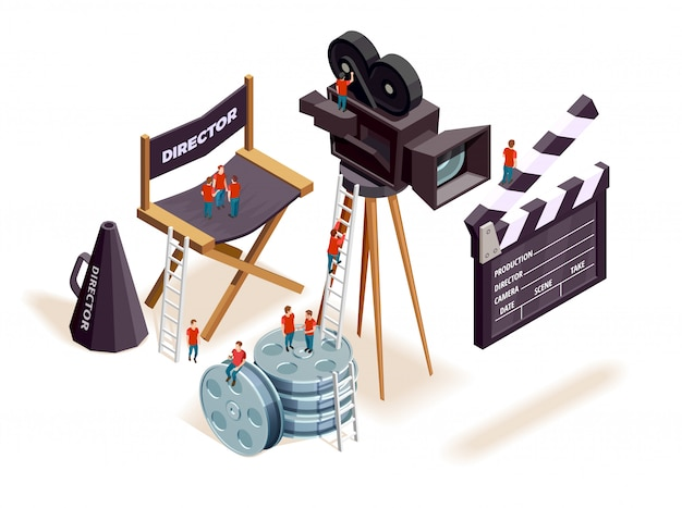 Isometrische cinema elementen concept