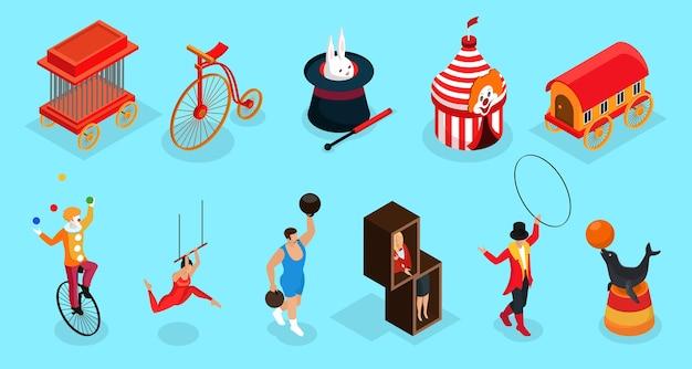 Isometrische circus elementen collectie met kooi fiets getrainde dieren trucs selectiekader aanhangwagen clown acrobaat trainer illusionist geïsoleerd