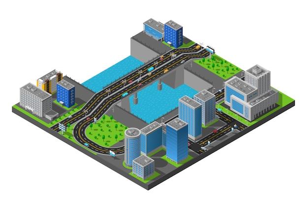 Isometrische city bridge-illustratie