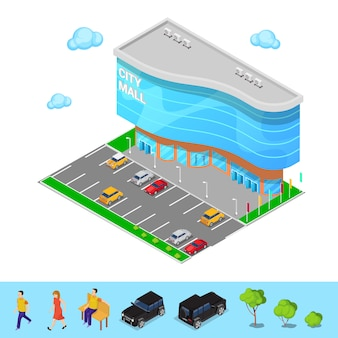 Isometrische city mall. modern winkelcentrumgebouw met parkeerzone. vector illustratie