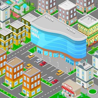 Isometrische city mall. modern winkelcentrumgebouw met parkeerzone.