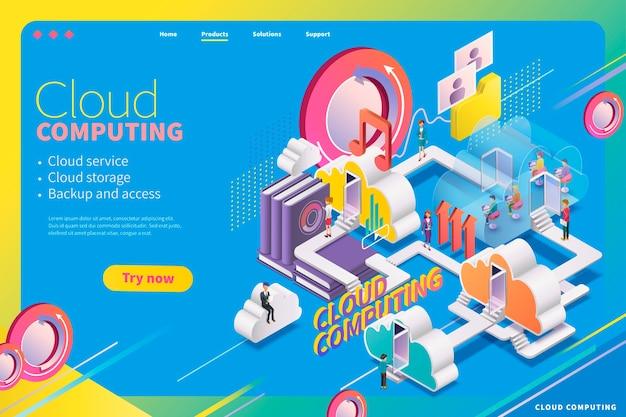 Isometrische cloud computing-webpagina, kan de stad van dienst zijn met mensen die erin wonen
