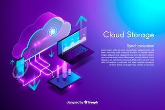 Isometrische cloud-opslag achtergrond