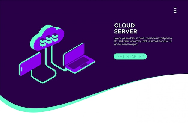 Isometrische cloud server illustratie
