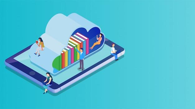 Isometrische cloudbibliotheek op het smartphonescherm.