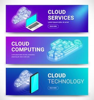Isometrische cloudservices horizontale banners instellen.