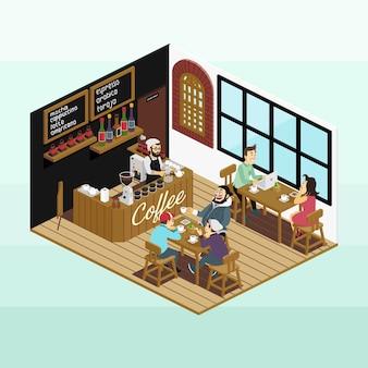 Isometrische coffeeshop landschap