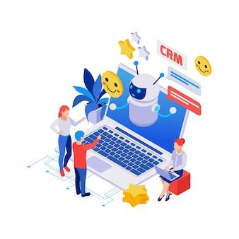 Isometrische compositie met chatbot op laptop mensen blij glimlachen