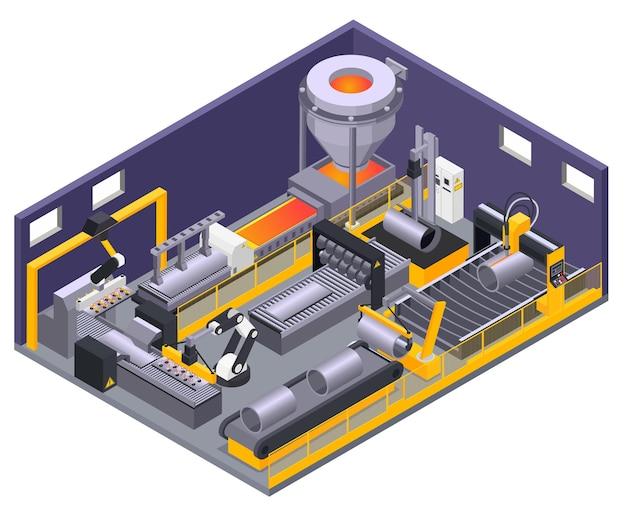 Isometrische compositie met geautomatiseerde machines voor metaalbewerking 3d