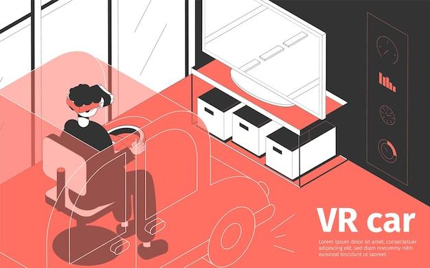 Isometrische compositie met persoon die een vr-bril draagt die auto rijdt in videogame 3d