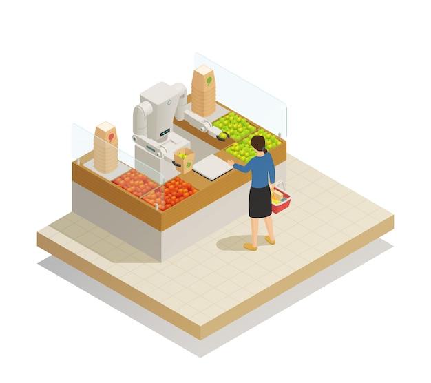 Isometrische compositie van de supermarkt robottechnologie