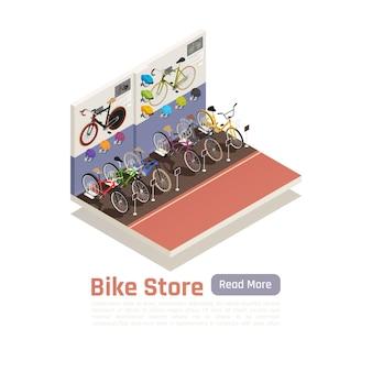 Isometrische compositie van fietsenwinkel met verschillende modellen fietsprijsborden en informatieposters aan de muur
