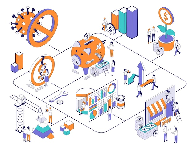 Isometrische compositie voor economisch herstel van bedrijven met afbeeldingen van virusetalages en financiële pictogrammen gecombineerd in stroomdiagramillustratie