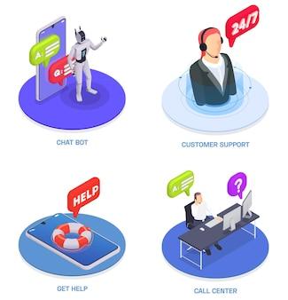 Isometrische composities van de klantenservice ingesteld met ondersteuning voor chatbots, krijg hulp en callcenterbeschrijvingen